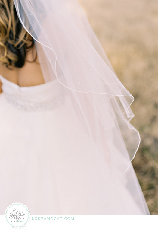 Closeup of wedding veil and the back of the bride's hair.
